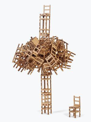 Stacking chairs, brown, cardboard, fun design game, artistic sculpture