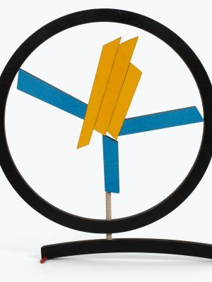circulo game, creative options, geometrical abstract sculpture blue and yellow
